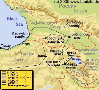 Tabibitos Homepage Georgia Armenia And Turkey - Yerevan georgia map