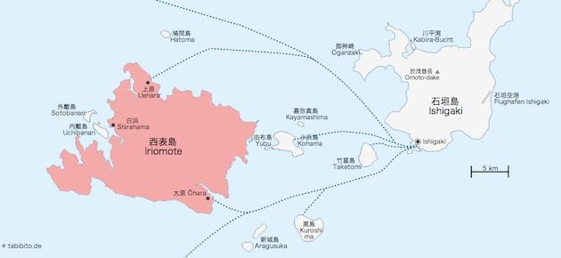 Karte von Iriomote (rot) und umliegenden Inseln
