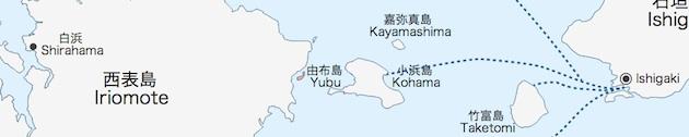 Karte von Yubu-jima (rot) und den umliegenden Inseln