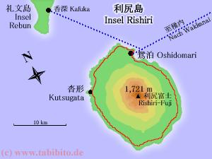 Karte von Rishiri. Rot = Strasse.