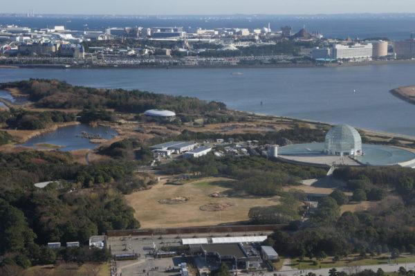 Blick über den Vogelpark und das Aquarium des Kasai-Parks Richtung Disneyland