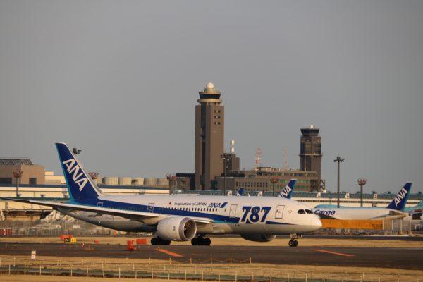 Dreamliner der ANA - eine der beiden grossen japanischen Fluglinien - auf dem Tarmac des Internationalen Flughafens Narita