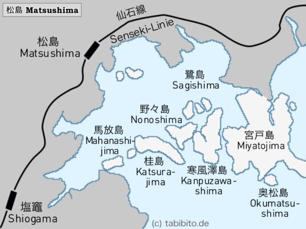 Karte der Bucht von Matsushima