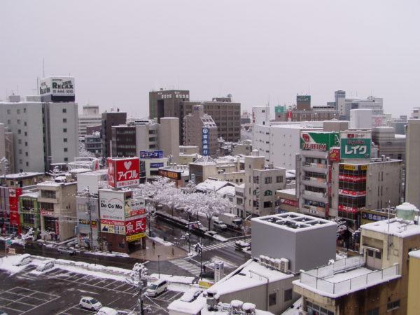 Stadtzentrum im tiefsten Winter