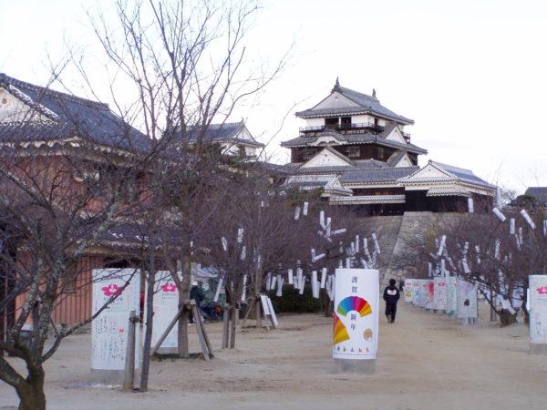Blick vom Park auf die schöne Burg von Matsuyama