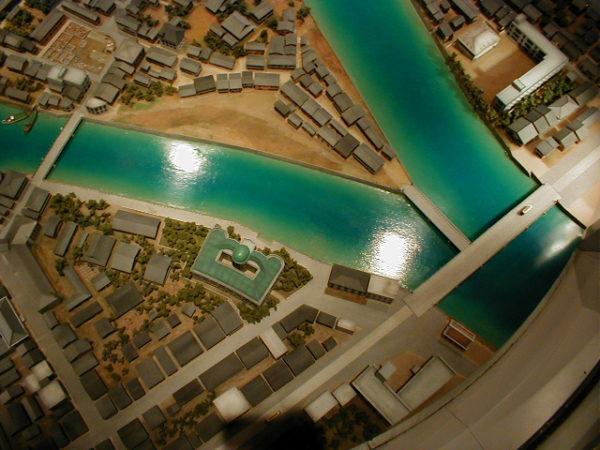 Modell von Hiroshima vor der Explosion...(das grüne Gebäude in der Mitte ist der A-Dome)