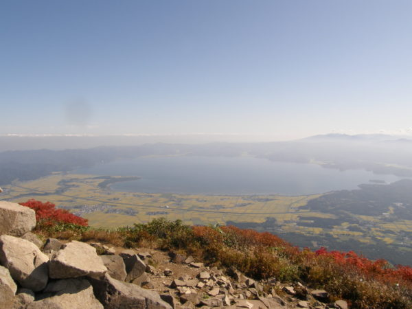 Blick vom Mt. Bandai auf den Inawashiro-See