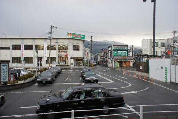 Blick vom Bahnhof auf das Zentrum