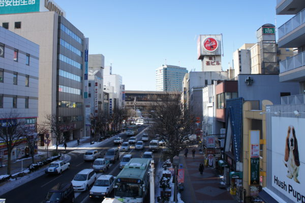Morioka: Blick zum Hauptbahnhof der Stadt