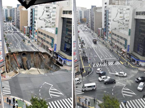 Gestern noch da, heute schon weg: Das gewaltige Lock von Fukuoka vor 6 Tagen und heute. Quelle: Kyodo