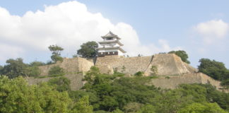 Blick von der Unterstadt zur imposanten Mauer - und dem Mini-Donjon der Burg von Marugame