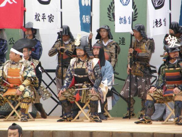 Historisches Spektakel an der Burg von Aizu-Wakamatsu