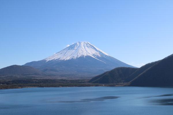 Fuji-san, vom Motosu-ko aus gesehen (einem der 5 Seen des Fuji).