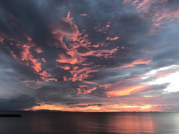 Sonnenuntergang über der Seto-Binnensee
