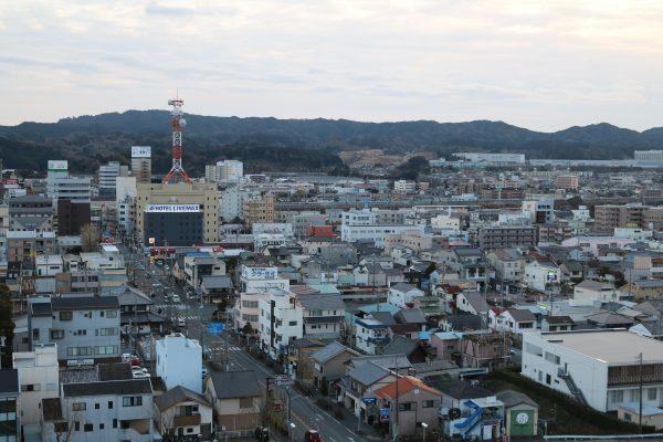 Blick auf das Stadtzentrum von Kakegawa