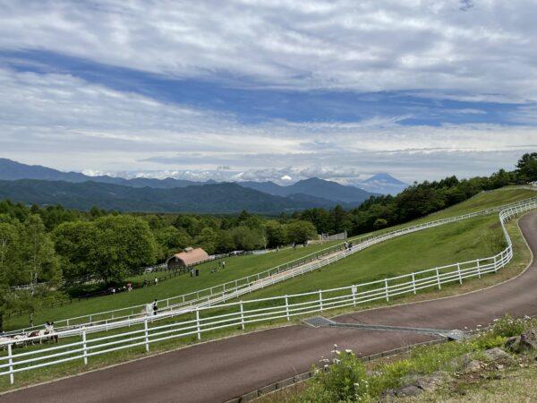 Der Makiba-Park mit gepflegten Weiden und dem Fuji-san im Hintergrund