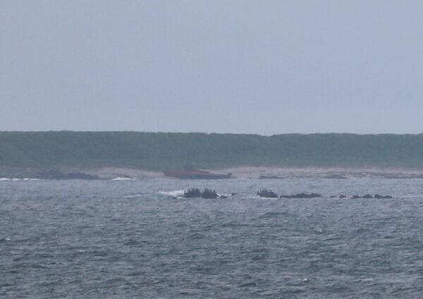Gestrandetes Schiff (die Insel gehört bereits zu Russland)