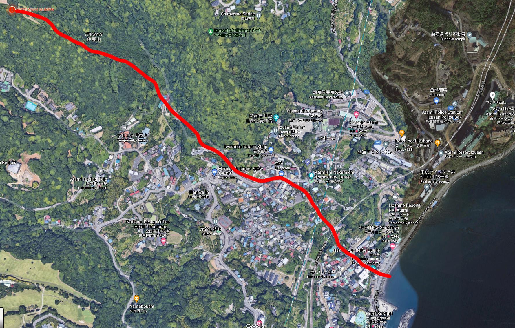 Route des Landrutsches in Atami am 3. Juli 2021 (Quelle: Google Earth)